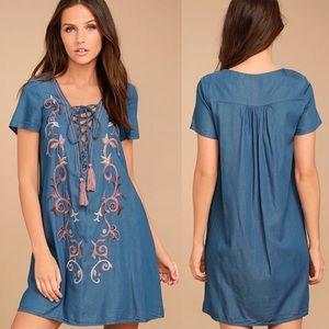 Lulus Down In Kokomo Blue Embroidered Shift Dress